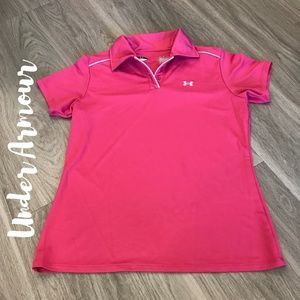 Under Armour Women's Small Golf Polo Pink & White